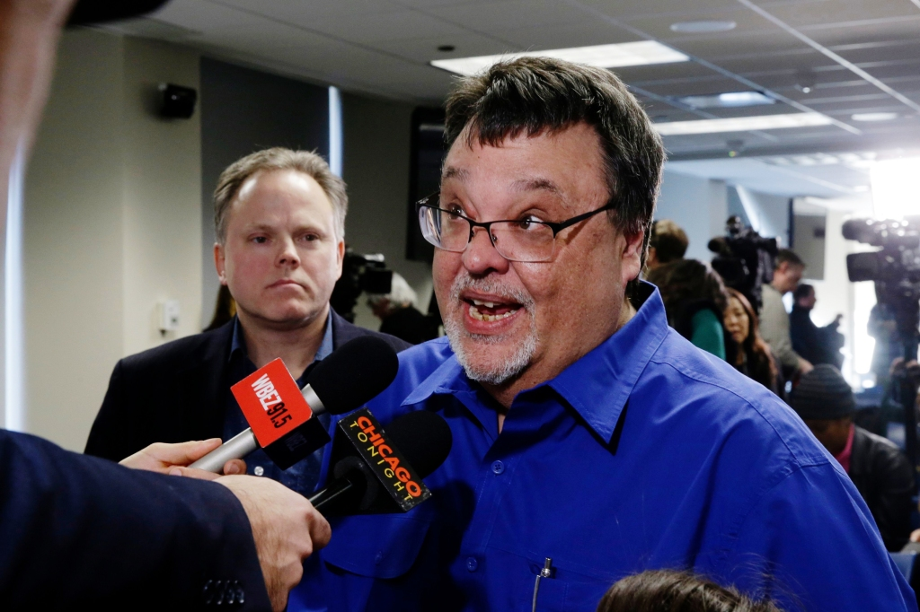 Former Chicago Sun-Times reporter Jim DeRogatis talks to reporters after a news conference by Cook County State's Attorney Kim Foxx announcing charges against R. Kelly, the R&B star, with with 10 counts of aggravated sexual abuse involving multiple victims in ChicagoR Kelly Investigations DeRogatis, Chicago, USA - 22 Feb 2019