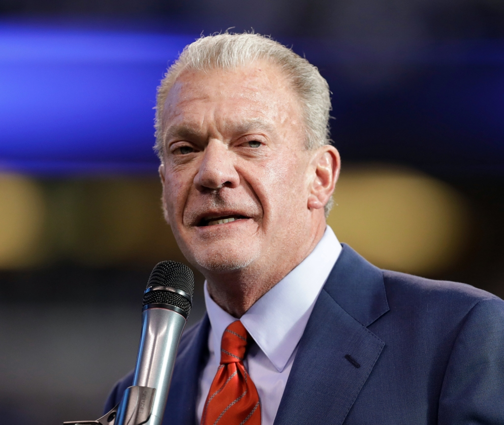 "Indianapolis Colts owner Jim Irsay speaks before former general manager Bill Polian is inducted into the team's Ring of Honor during half time of an NFL football game in Indianapolis. The founding document of Alcoholics Anonymous, known to adherents as the ""Big Book,"" has been sold at auction for $2.4 million to Irsay. The auction house Profiles in History says the manuscript with handwritten notes from group's founding fathers, sold to Irsay, in Los AngelesAlcoholics Anonymous Auction, Indianapolis, USA - 01 Jan 2017"