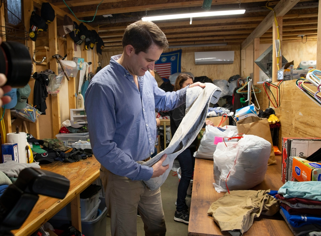 Democratic candidate for United States President, Congressman Seth Moulton sorts donated clothes at a Veterans Transition home in Manchester, New Hampshire, USA 23 April 2019. Mouton announced his campaign for Democratic candidate for United States President on 22 April 2019.Democratic candidate for United States President Congressman Seth Moulton, Manchester, USA - 23 Apr 2019