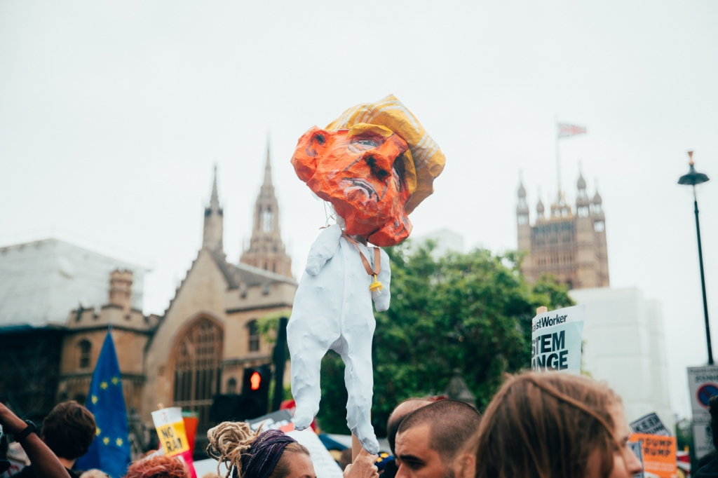 Thousands of activists congregated in central London with signs (and effigies) to protest Trump's visit.