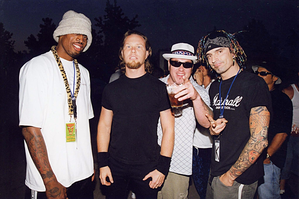 (L-R) Dennis Rodman, James Hetfield of Metallica, Steve Harwell of Smash Mouth and Tommy Lee of Motley Crue (Photo by Jeff Kravitz/FilmMagic)