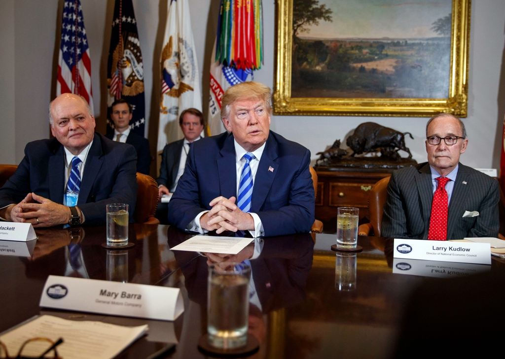 Donald Trump, Scott Pruitt, James Hackett, Larry Kudlow. President Donald Trump speaks during a meeting with automotive executives in the Roosevelt Room of the White House, in Washington. From left, Environmental Protection Agency administrator Scott Pruitt, Ford CEO James Hackett, Trump, and White House chief economic adviser Larry KudlowTrump Fuel Economy, Washington, USA - 11 May 2018