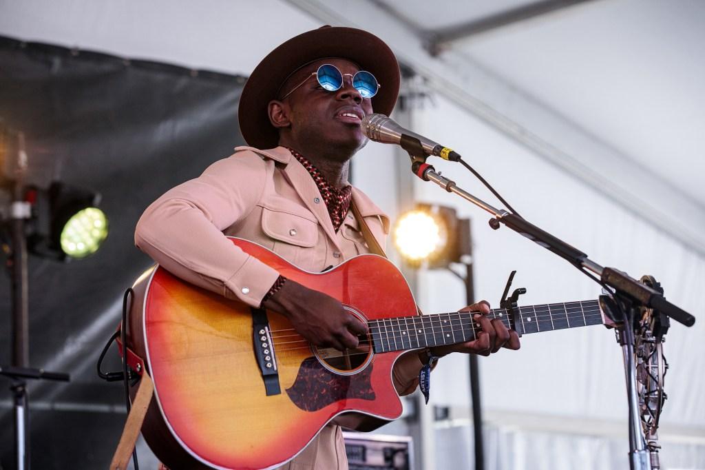 JS Ondara performs at Newport Folk Festival in Newport, Rhode Island. Photograph by Sachyn Mital
