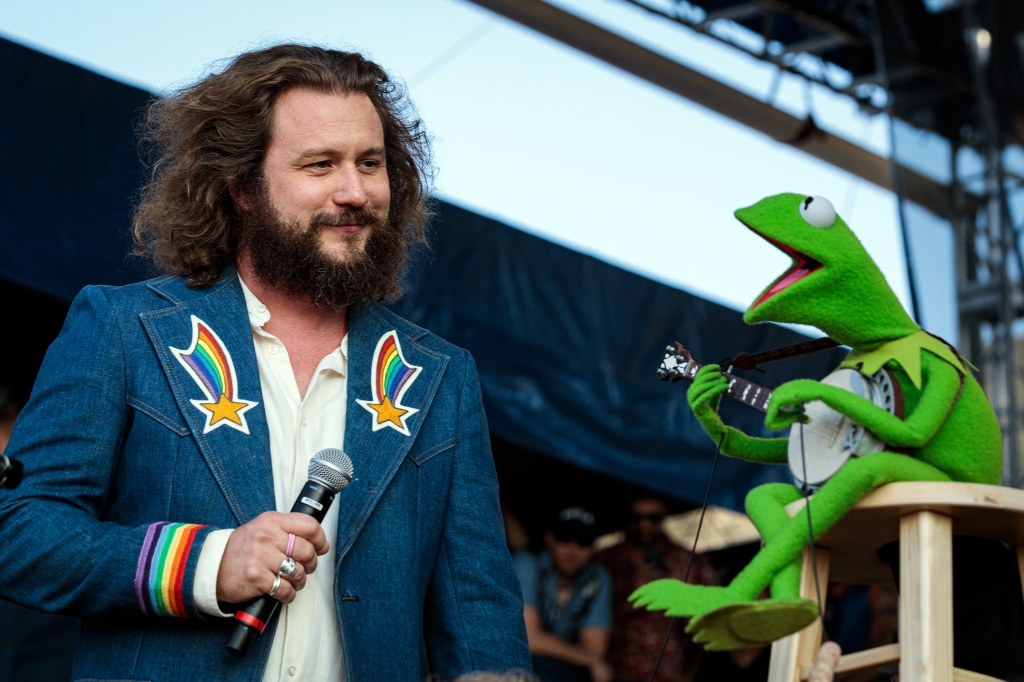 Jim James and Kermit the Frog perform at Newport Folk Festival in Newport, Rhode Island. Photograph by Sachyn Mital
