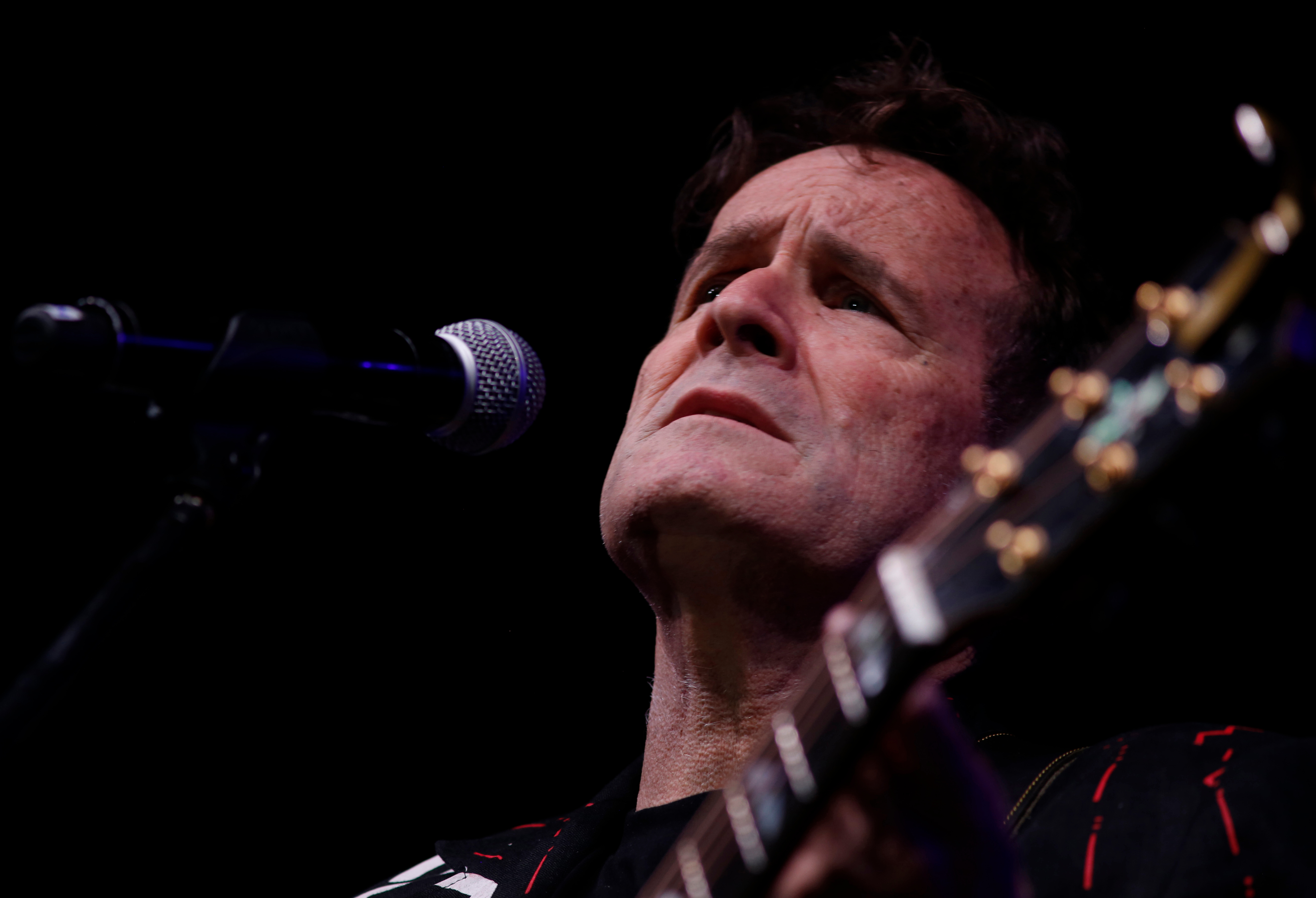 """On, musician Johnny Clegg on stage at a farewell concert in Johannesburg. At 64, his pancreatic cancer in remission, Clegg performed as part of his """"Final Journey"""" tour, delivering the hybrid songs inspired by Zulu and South African township rhythms, as well as pop, folk and country and western, that he developed in defiance of South Africa's apartheid system decades agoJohnny Clegg, Johannesburg, South Africa - 11 Nov 2017"""