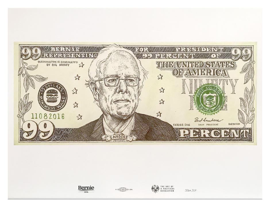 Bernie's campaign store has a lot of posters for sale. Some of them aren't bad, if you're into that sort of thing. This one doesn't quite work.