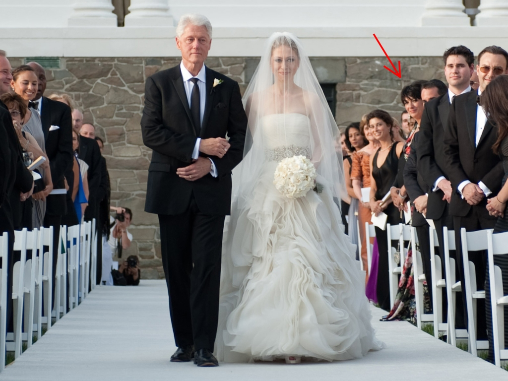 RHINEBECK, NY - JULY 31: In this handout image provided by Genevieve de Manio, former U.S. President Bill Clinton (L) walks Chelsea Clinton down the aisle during her wedding to Marc Mezvinsky at the Astor Courts Estate on July 31, 2010 in Rhinebeck, New York. Chelsea Clinton, the daughter of former U.S. President Bill Clinton and Secretary of State Hillary Clinton, married Marc Mezvinsky today in an interfaith ceremony at the estate built by John Jacob Astor on the Hudson River about two hours north of New York City. (Photo by Genevieve de Manio via Getty Images)