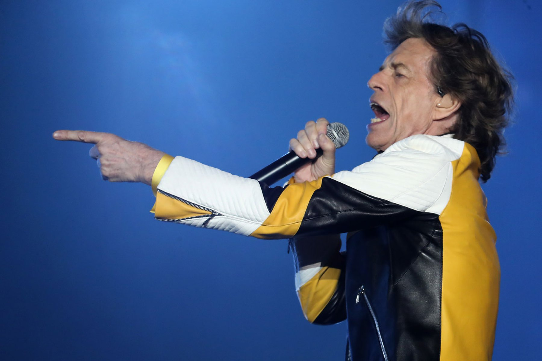 FOXBOROUGH, MA - JULY 7: Lead singer Mick Jagger performs in concert with the Rolling Stones at Gillette Stadium in Foxborough, MA on July 7, 2019. (Photo by Matthew J. Lee/The Boston Globe via Getty Images)