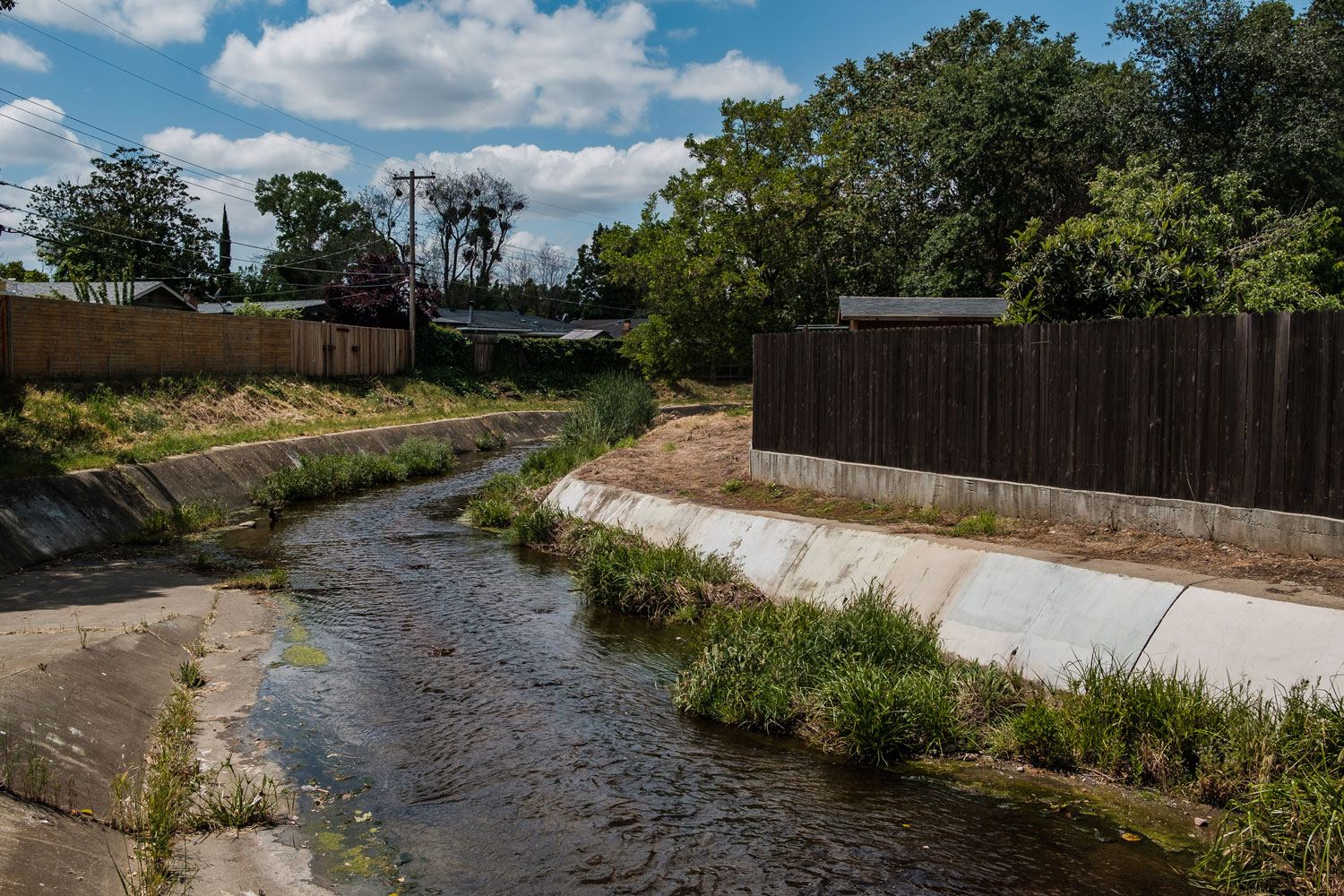 Rancho Cordova, CA - April 27: A drainage canal in a neighborhood of Rancho Cordova where the East Area Rapist would hide in order to elude authorities when he was terrorizing the area. (Photo by Nick Otto for the Washington Post)