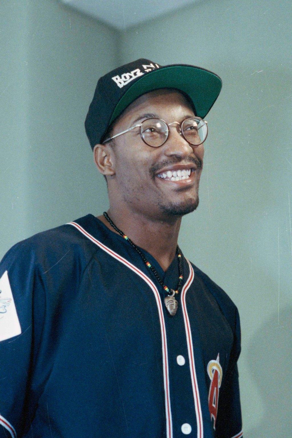 """Singleton Filmmaker John Singleton, who made the movie """"Boyz N The Hood,"""" is seen in Los Angeles in 1991."""