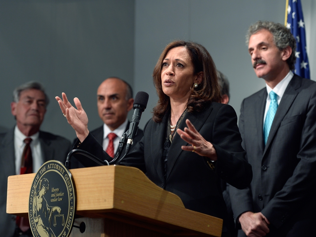 LOS ANGELES, CA - MAY 17: California Attorney General Kamala Harris speaks at a news conference on May 17, 2013 at the Los Angeles Civic Center in Los Angeles, California. Harris hosted a meeting of the state's district attorneys to develop recommendations on reducing gun violance. (Photo by Kevork Djansezian/Getty Images)