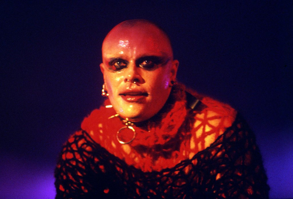 Keith Flint performing on stage with electronic music group the Prodigy, United Kingdom, 1997.