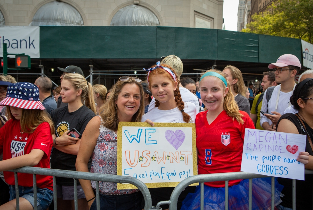 """Bridget Nicholson, Elena Nicholson, and Elli Sklar came from New Jersey to see the festivities. """"These women stand for what we should all strive to be,"""" says Elena, 13."""