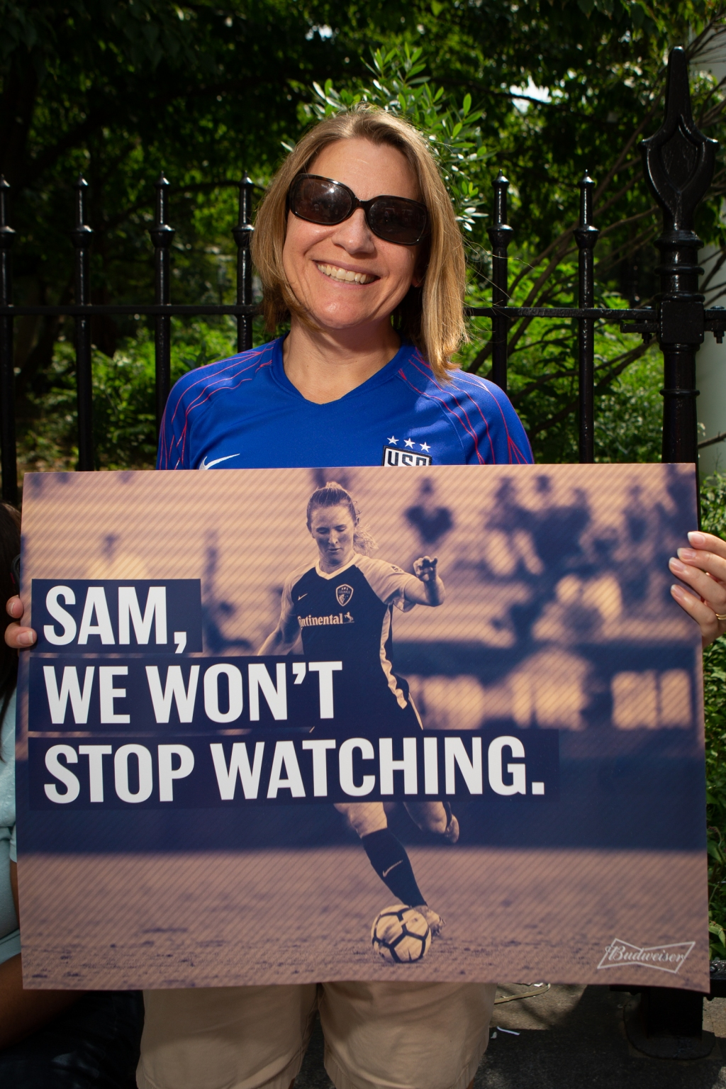 """""""I've been playing sports since I was five, and now my kids playing soccer too, so I wanted to bring them here,"""" says Beth Coultrap, 42, from Glenrock, NJ. """"It's important for them to be a part of women's rights today."""""""