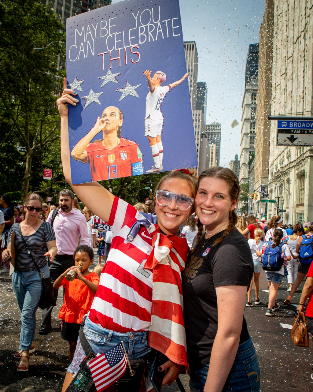 """Eliza Smith and Shannon Pruzinsky came to New York from Beacon Falls, Connecticut. """"This World Cup means so much more than previous years,"""" says Smith, 18. """"I love Megan Rapinoe and what they are representing as far as wage gaps and equal pay. They are such empowering women."""" Pruzinsky, 18, says she's a longtime fan."""" I've looked up to these women since I started playing soccer at age three, they have been such an inspiration,"""" she says"""