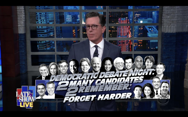 Colbert Mocks Bernie, Marianne Williamson After Democratic Debate