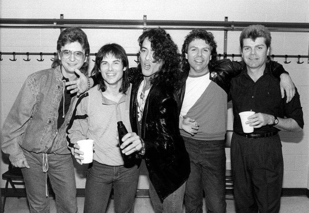 Photo of SURVIVOR; L-R Jim Peterik, Jimi Jamison, Stephen Pearcy of Ratt, Marc Droubay and Stephan Ellis backstage.