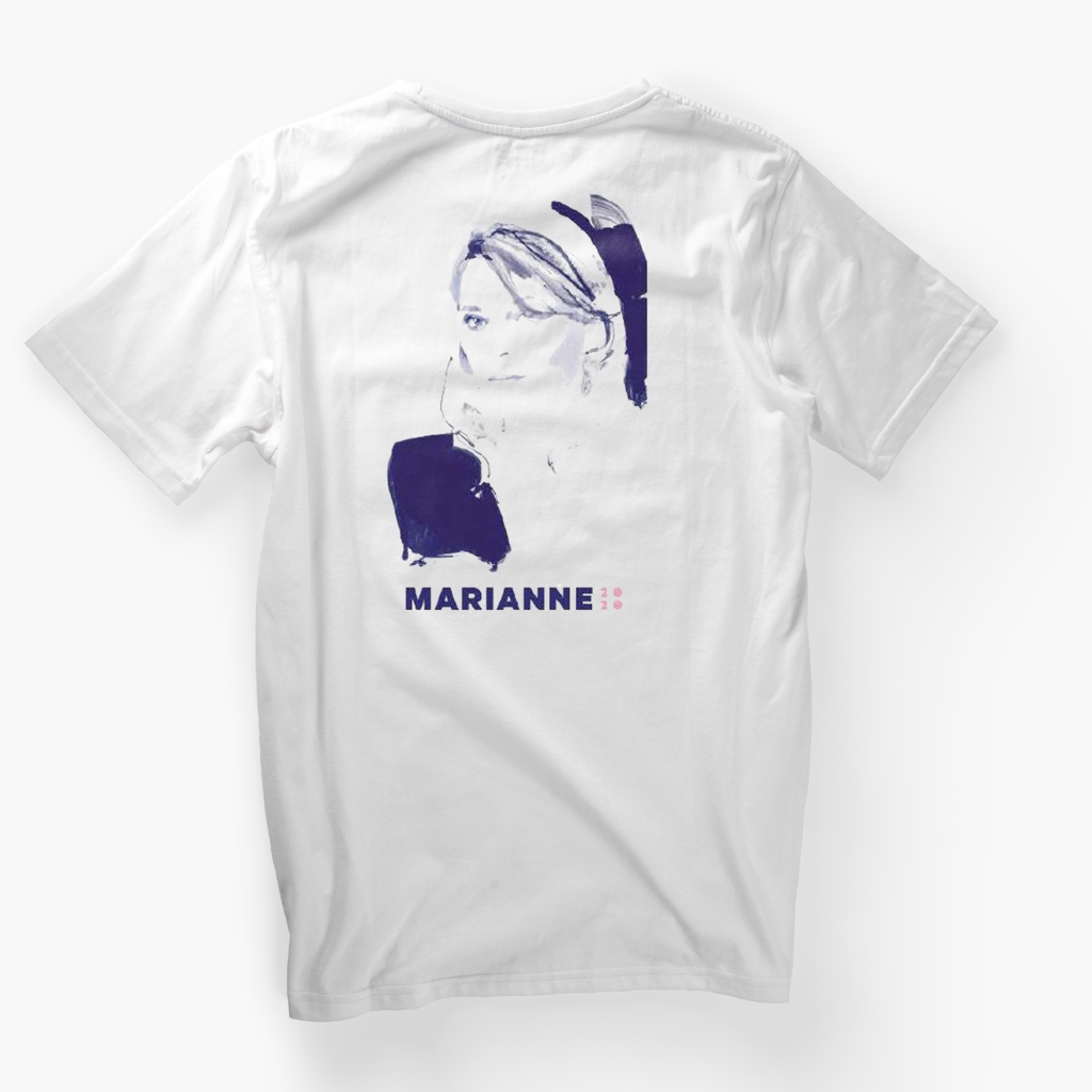 """A shirt imagining Marianne Williamson if she were in the """"Take On Me"""" video. A very on-brand piece of merch for a candidate who rose to prominence as a self-help guru in the '80s."""