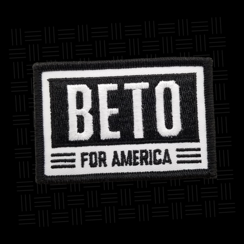 """In case you weren't aware, Beto O'Rouke likes punk music. Nothing says """"counterculture"""" in 2019 like sewing a patch with the Vanity Fair cover star's name on it onto your denim vest."""