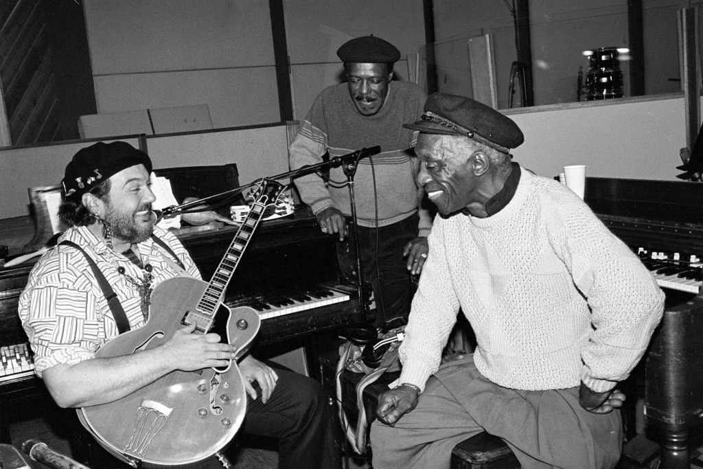 (MANDATORY CREDIT Ebet Roberts/Redferns) Art Blakey, Dr John and David 'Fathead' Newman also known as 'Bluesiana Triangle' at Acme Studios in Mamaroneck, New York on March 5, 1990. (Photo by Ebet Roberts/Redferns)