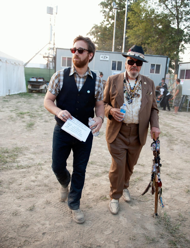 MANCHESTER, TN - JUNE 12: (L-R): Dan Auerbach and Mac Rebennack aka Dr. John head to their Superjam performance during the 2011 Bonnaroo Music and Arts Festival on June 12, 2011 in Manchester, Tennessee. (Photo by Erika Goldring/WireImage)