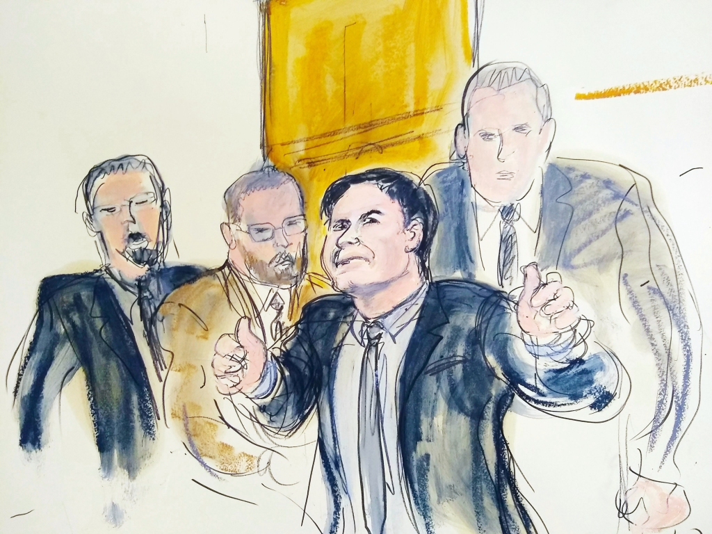 "In this courtroom drawing, Joaquin ""El Chapo"" Guzman, second from right, accompanied by US Marshalls, gestures a ""thumbs up"" to his wife, Emma Coronel Aispuro, as he leaves the courtroom, in New York. The notorious Mexican drug lord was convicted of drug-trafficking charges, Tuesday, Feb. 12 2019, in federal court in New York. Elizabeth Williams via APEl Chapo Prosecution, New York, USA - 12 Feb 2019"