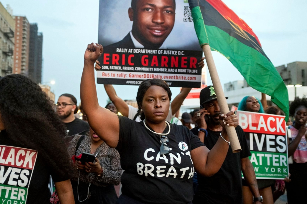 Activists with Black Lives Matter protest in the Harlem neighborhood of New York, in the wake of a decision by federal prosecutors who declined to bring civil rights charges against New York City police Officer Daniel Pantaleo, in the 2014 chokehold death of Eric Garner. The decision was made by Attorney General William Barr and announced one day before the five-year anniversary of his death, officials saidPolice Chokehold Death, New York, USA - 16 Jul 2019