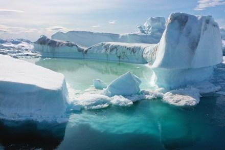 Free-floating ice floats jammed into the Ilulissat Icefjord during unseasonably warm weather on July 30, 2019 near Ilulissat, Greenland.