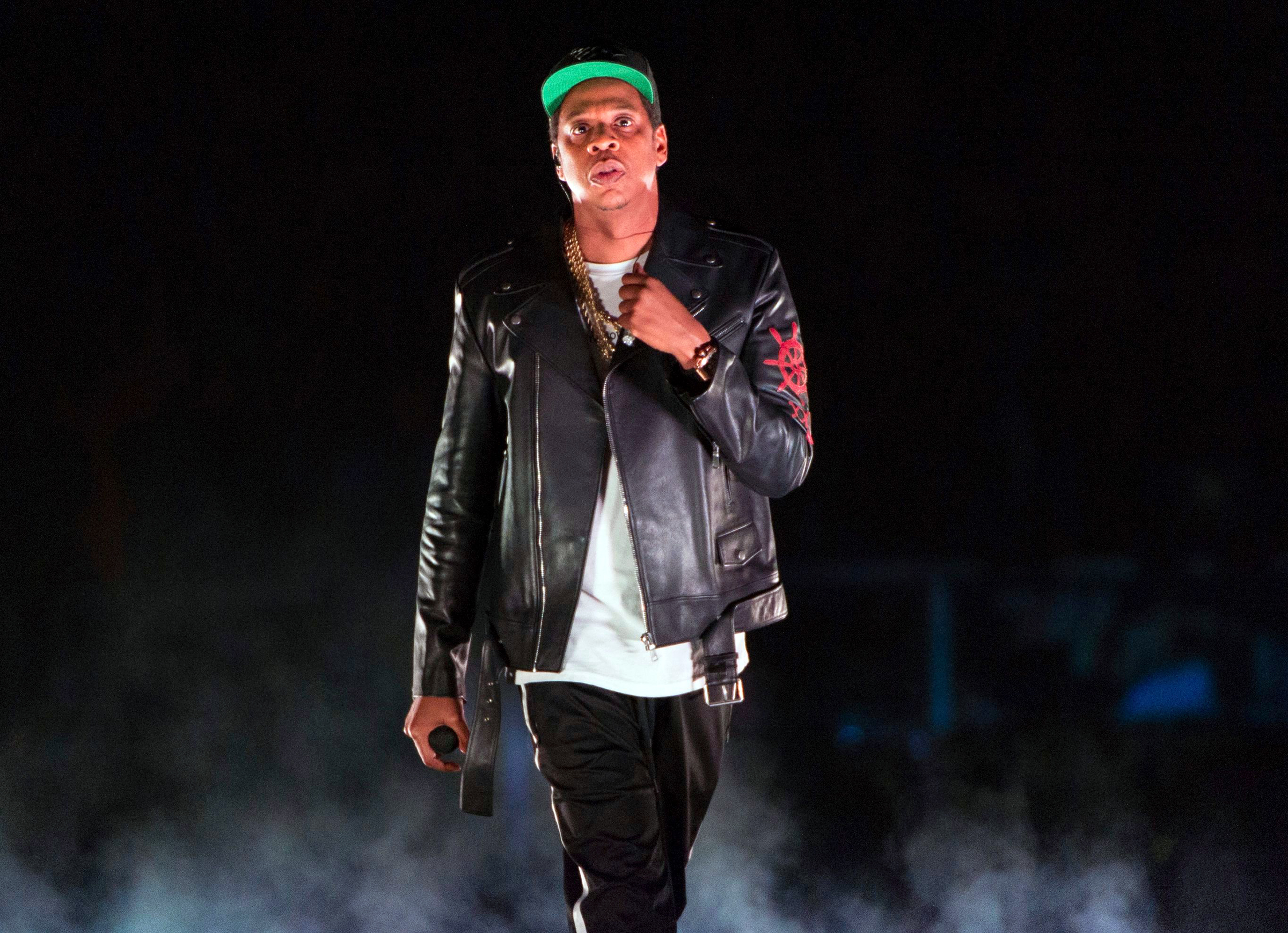 """Jay-Z performs on the 4:44 Tour at Barclays Center in New York. Jay-Z and Beyonce have released a joint album that touches on the rapper's disgust at this year's Grammy Awards and features a shout out from their daughter Blue Ivy to her siblings. The pair released the nine-track album """"Everything Is Love"""", on the Tidal music streaming service that Jay-Z partially ownsMusic Jay-Z-Beyonce Album, New York, USA - 28 Nov 2017"""