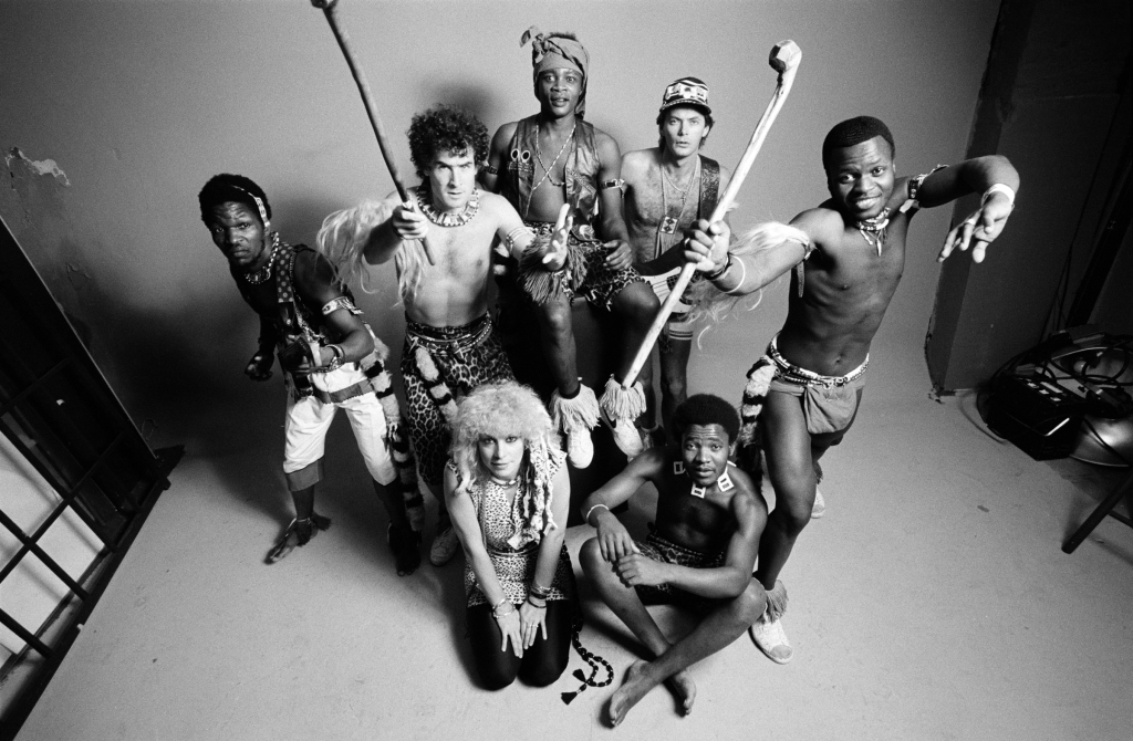 LONDON - 1st JUNE: South African band Juluka featuring Johnny Clegg (2nd from left) posed in London in June 1983. (Photo by Fin Costello/Redferns)
