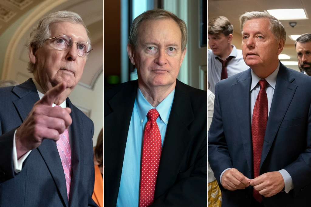 Senaat Meerderheid Leader Mitch McConnell, R-KY, Sen. Mike Crapo, R-ID en Senaat Judiciary Committee Chairman Lindsey Graham, R-SC.