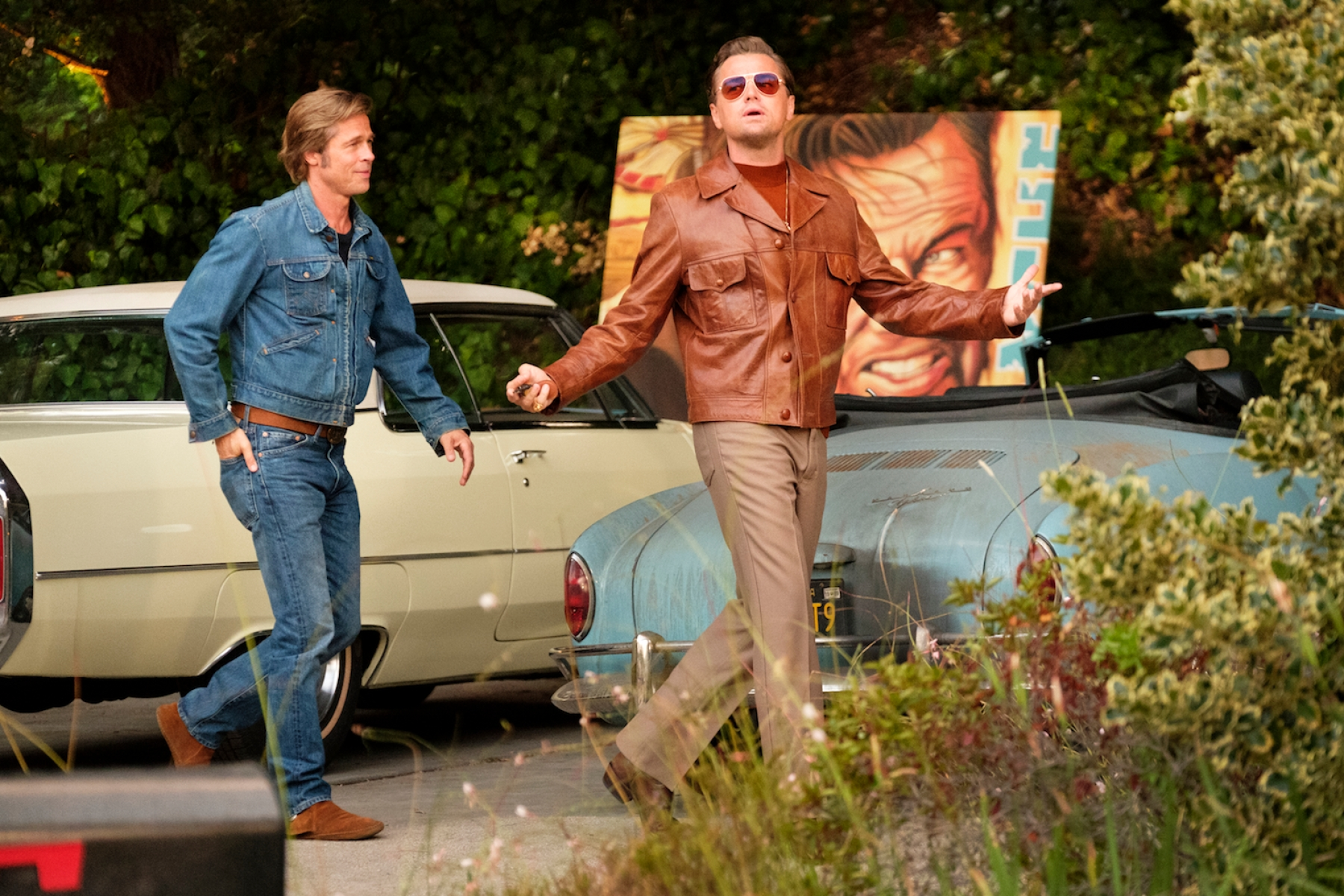 Brad Pitt and Leonardo DiCaprio star in ONCE UOPN A TIME IN HOLLYWOOD.