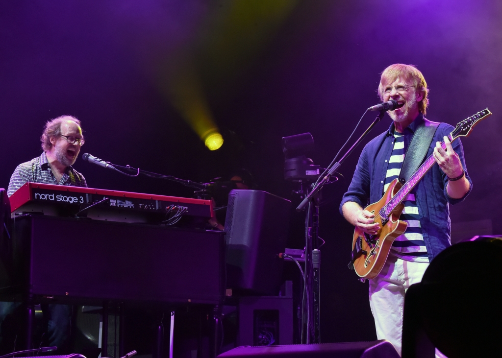 MANCHESTER, TENNESSEE - JUNE 16: (L-R) Page McConnell and Trey Anastasio of Phish perform on What Stage during the 2019 Bonnaroo Arts And Music Festival on June 16, 2019 in Manchester, Tennessee. (Photo by Jeff Kravitz/FilmMagic for Bonnaroo Arts And Music Festival )