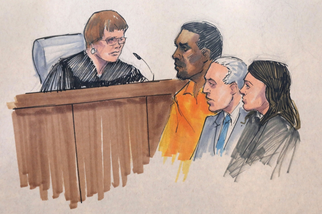 In this courtroom sketch, R&B singer R. Kelly, center, appears before U.S. Magistrate Shelia M. Finnegan, left, in U.S. District Court for the Northern District of Illinois., in Chicago. Also standing with Kelly is his attorney Steve Greenberg and an unidentified prosecutorR Kelly, Chicago, USA - 12 Jul 2019