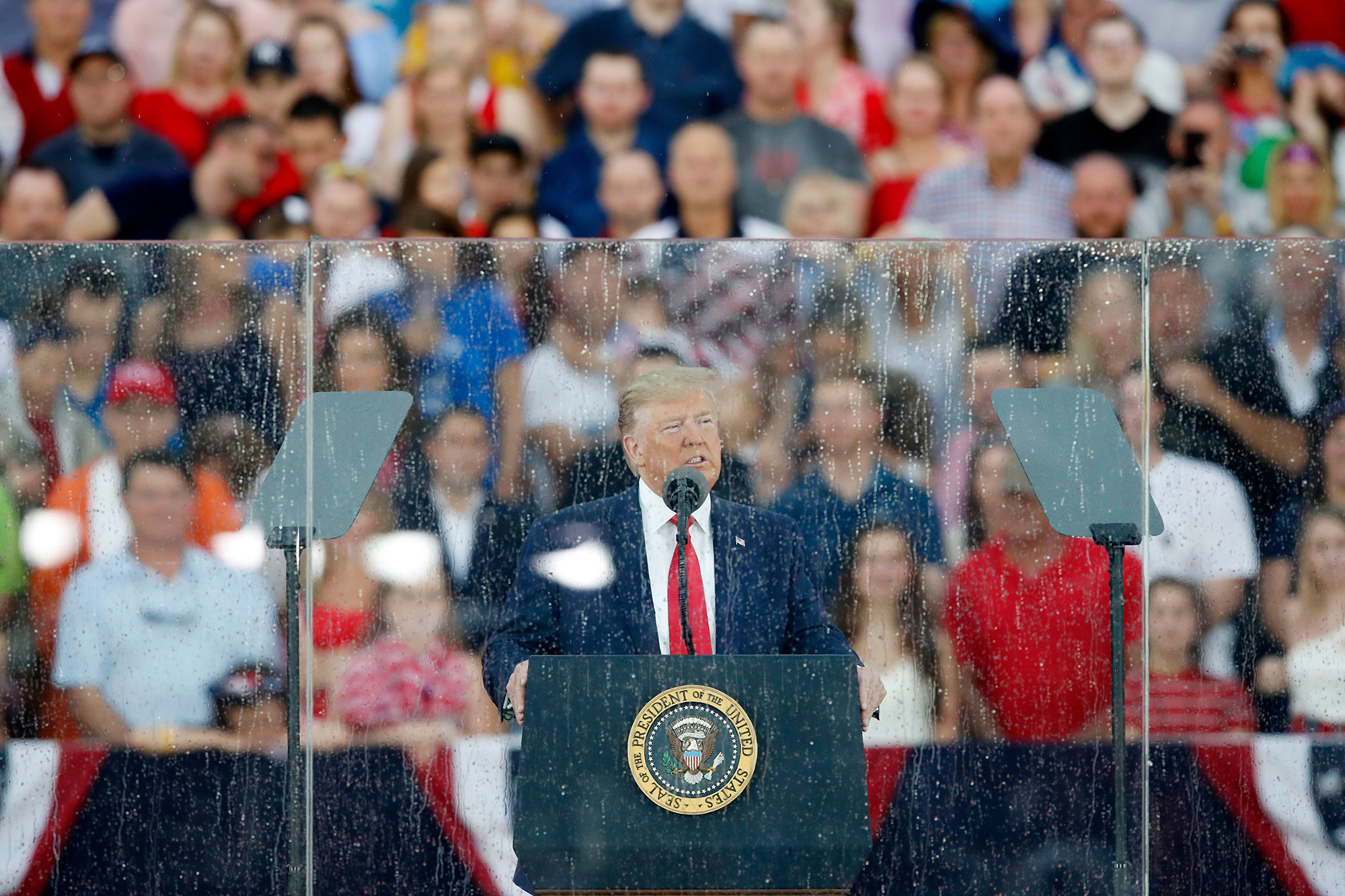 Trump Says Troops 'Took Over Airports' During Revolutionary War, in Rainy Fourth of July Speech