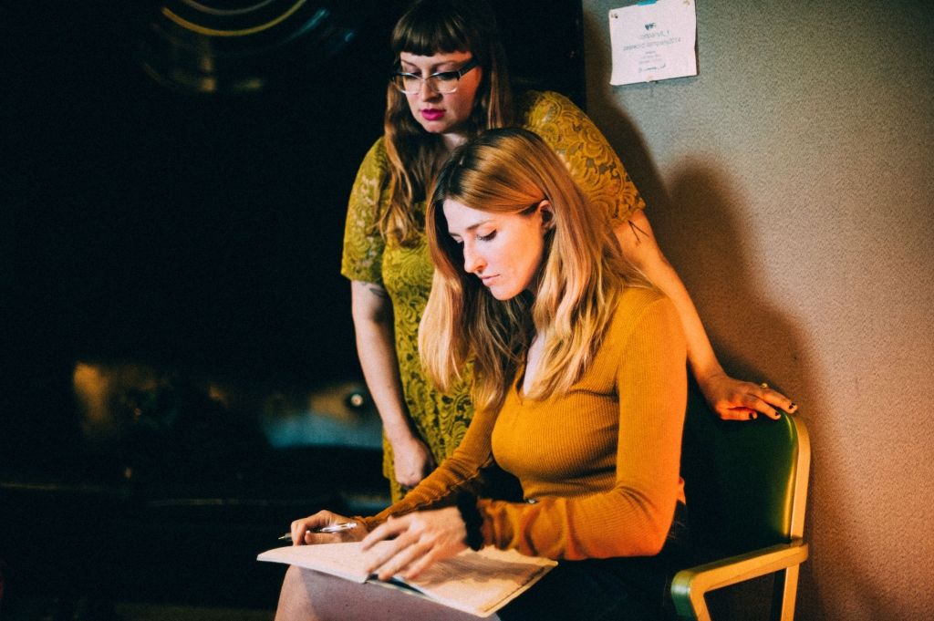 Ali and Katy of Vivian Girls working on their upcoming record,