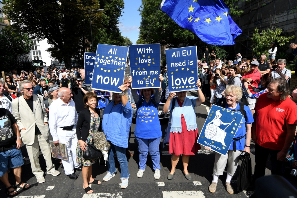 Pro-EU remain protesters at Abbey Road on the 50th Anniversary of the album by The Beatles.