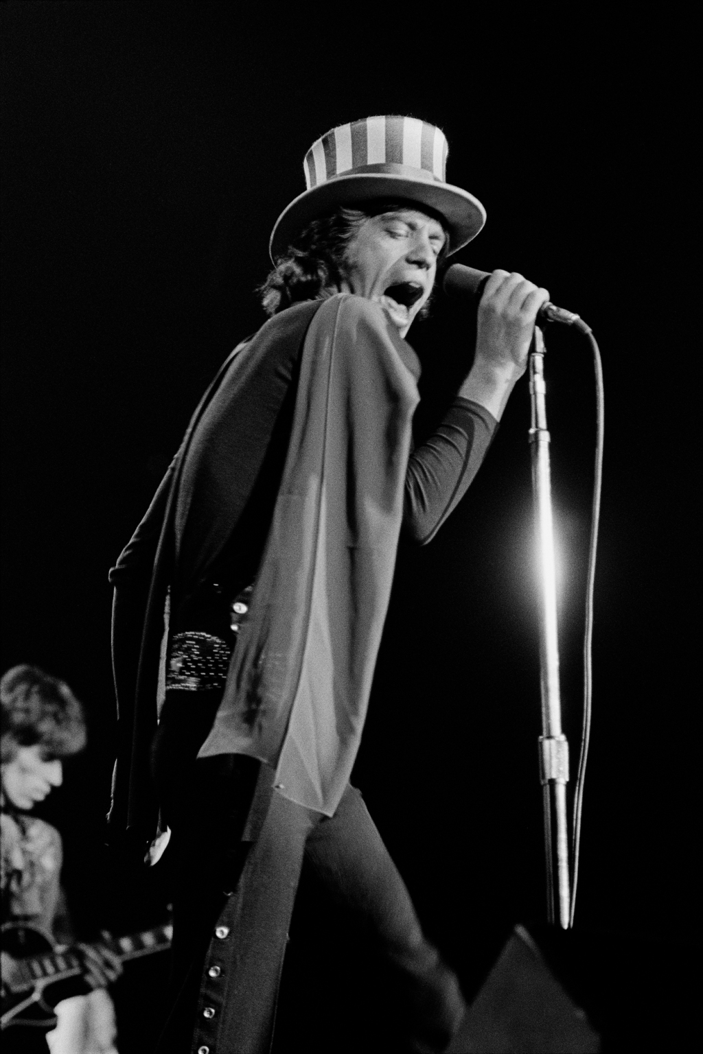 """The Rolling Stones in Oakland in 1969, right before the Altamont festival. """"That was the first time I shot the Rolling Stones,"""" says Wolman. """"I always thought [this photo] subliminally showed the relationship between Mick and Keith,"""" he says. """"Keith is in the background and Mick is dominant."""""""