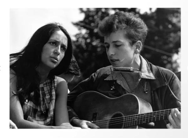 Bob Dylan and Joan Baez Print