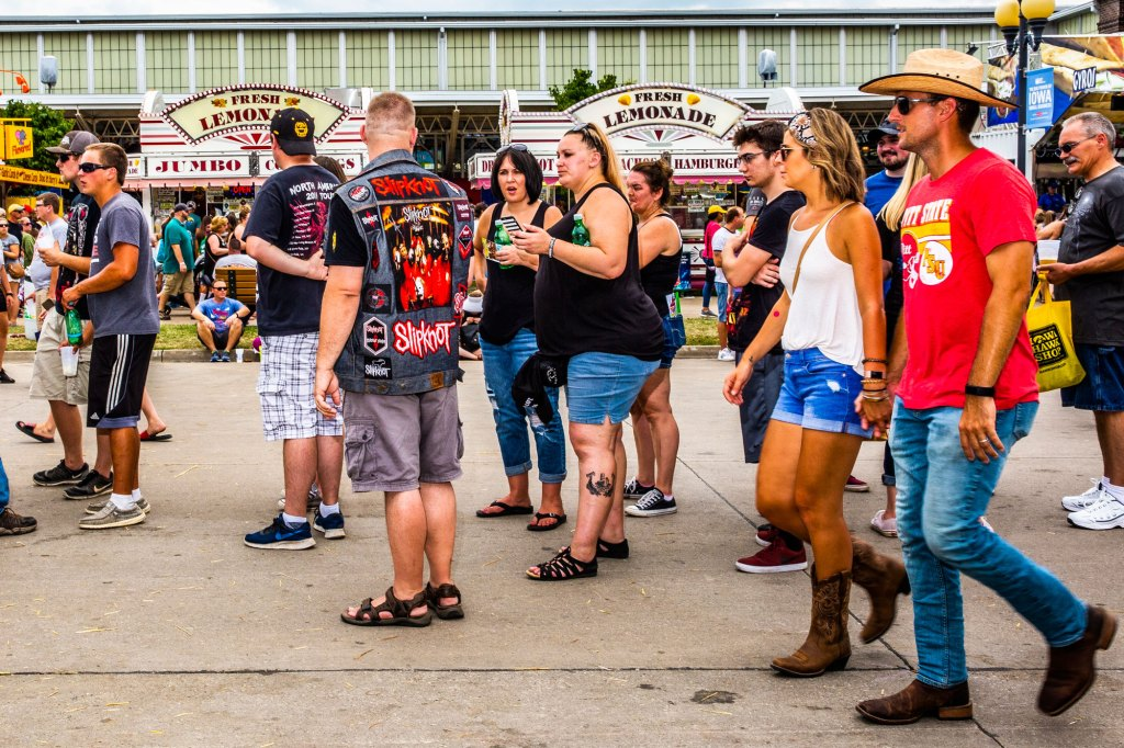 Nevada Smith, from Oakes, North Dakota, waits in line for the Slipknot Museum at the Iowa State Fair in Des Moines, Iowa on August 10, 2019.
