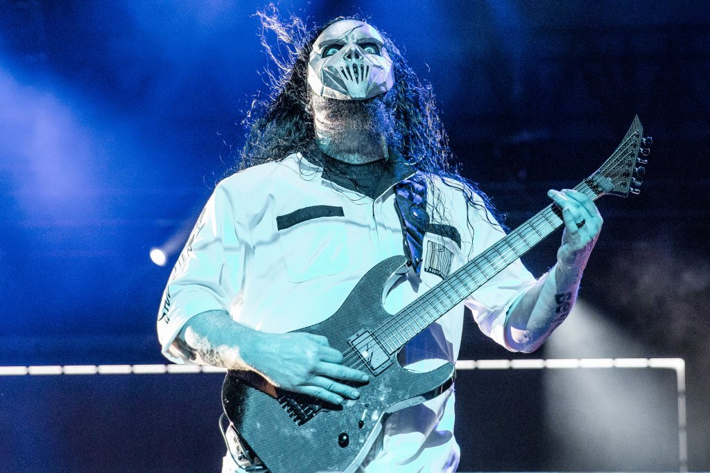 Guiter Player Mick Thomson plays at the Iowa State Fair in Des Moines, Iowa on August 10, 2019.