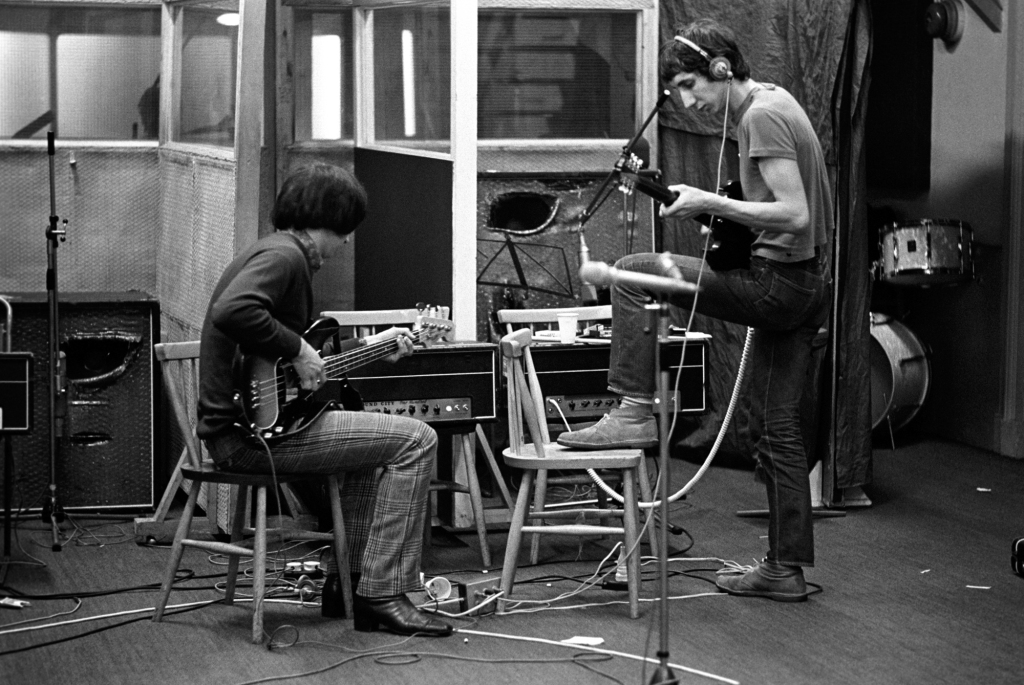 """The Who recording Tommy in London, 1968. """"It was magical to sit there in the studio and watch this be created,"""" Wolman says. """"The whole concept of Tommy was in flux. [Pete Townshend] kept changing it as it went along. They were very adamant about presenting rock music in a new way. Nobody had done a rock opera before."""""""