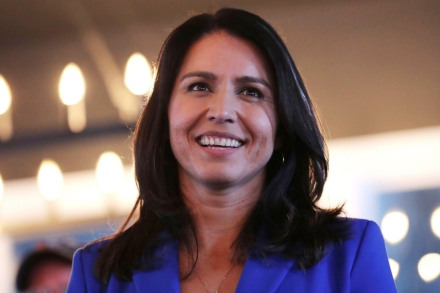 Presidential hopeful U.S. Rep. Tulsi Gabbard, D-Hawaii, smiles during a campaign stop at a brewery in Peterborough, N.H on March 22nd, 2019.