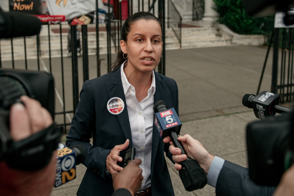 Public defender Tiffany Caban, a candidate for Queens district attorney, speaks to the media after voting at P.S. 122 on the day of the borough's Democratic primary election, June 25, 2019. Running on a progressive platform that includes decriminalizing sex work and closing the Rikers Island jail, Caban has won the support of numerous local community groups and left wing politicians.