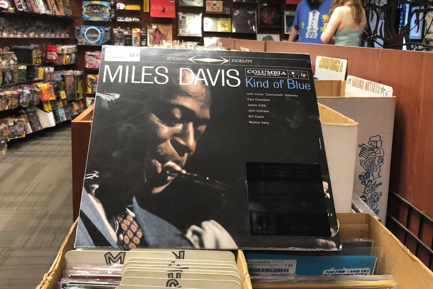 """The """"Kind of Blue"""" album cover is on display at Bull Moose record store in Portland, Maine, on the 60th anniversary of the album's release. Drummer Jimmy Cobb, the only surviving musician who performed on Miles Davis' jazz masterpiece """"Kind of Blue,"""" is still keeping time as the iconic recording marks its 60th anniversaryKind of Blue Drummer, Portland, USA - 17 Aug 2019"""