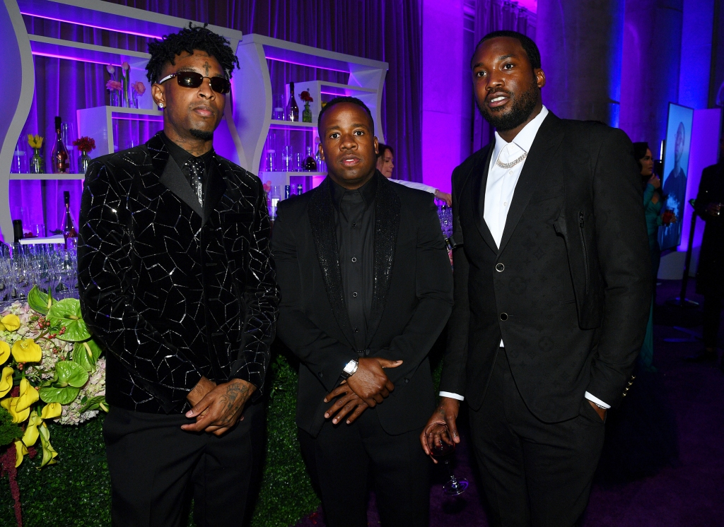 NEW YORK, NEW YORK - SEPTEMBER 12: (L-R) 21 Savage, Yo Gotti, and Meek Mill attend Rihanna's 5th Annual Diamond Ball Benefitting The Clara Lionel Foundation at Cipriani Wall Street on September 12, 2019 in New York City. (Photo by Dave Kotinsky/Getty Images for Diamond Ball)
