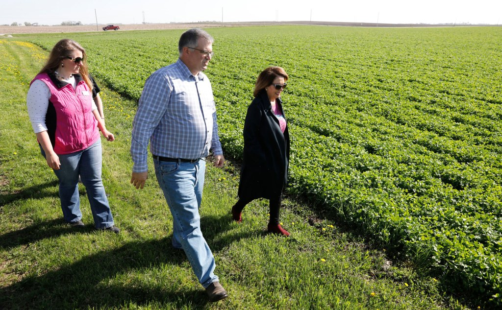 House Minority Leader Nancy Pelosi, D-Calif., right, talks with Aaron Lehman, center, during a tour of his farm, in Polk City, IowaPelosi Iowa, Polk City, USA - 07 May 2018