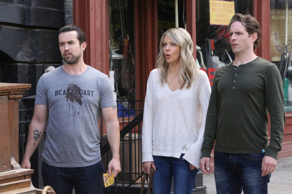 "Season 12, Episode 6: ""Hero or Hate Crime?"" – Pictured: (l-r) Rob McElhenney as Mac, Kaitlin Olson as Dee, Glenn Howerton as Dennis. Photo by Patrick McElhenney/FXX"