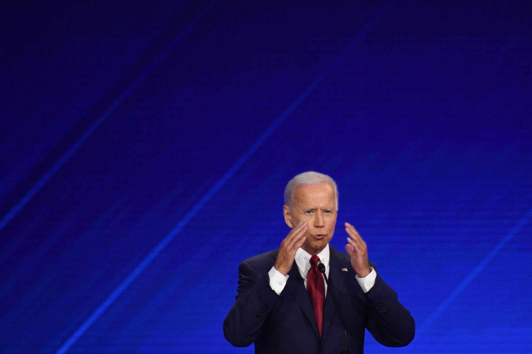 Democratic presidential hopeful former Vice President Joe Biden speaks during the third Democratic primary debate of the 2020 presidential campaign season hosted by ABC News in partnership with Univision at Texas Southern University in Houston, Texas on September 12, 2019. (Photo by Robyn BECK / AFP)        (Photo credit should read ROBYN BECK/AFP/Getty Images)