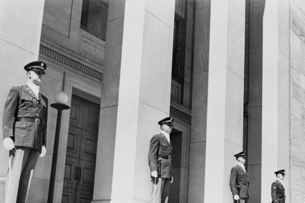 December 1950: Security guards on duty outside the Pentagon in Washington DC from where the nation's security and armed forces are directed. (Photo by Keystone Features/Getty Images)